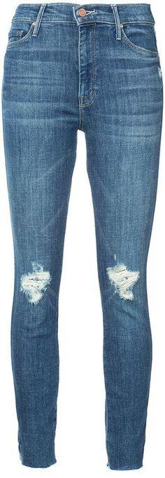 Mother distressed knees slim jeans