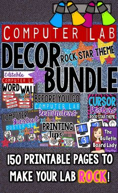 This computer lab decor bundle will make your lab or IT classroom ROCK! Bright and colorful, these printables are easy to prep for display. Included are a word wall, printing tips, cursor cues, shor Computer Lab Posters, Computer Lab Decor, Technology Posters, Computer Lessons, Computer Class, Computer Science, Computer Teacher, Technology Lessons, Computer Technology