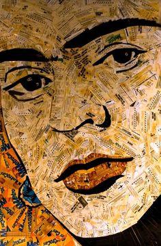 Frida-Kahlo feito com bilhetes de metrô