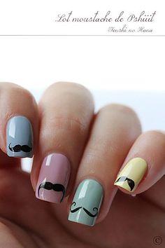 Movember #nailart | See more nail designs at http://www.nailsss.com/nail-styles-2014/