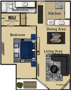 1 bedroom guest house floor plan