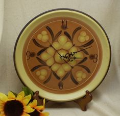 Upcycled Dinner Plate Wall Kitchen Clock, Brown and Yellow Theme Wall Clock, Nitto Stoneware plate, Safari Pattern,C6055 by ckdesignsforyou. Explore more products on http://ckdesignsforyou.etsy.com