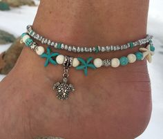 Beach Anklet, Turtle Anklet, Starfish Anklet, Nautical Anklet, Ankle Bracelet, Anklet, Beaded Anklet by BeachBohoJewelry on Etsy https://www.etsy.com/listing/508400141/beach-anklet-turtle-anklet-starfish