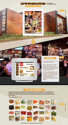 A lot going on in this colorful one pager for Stacked restaurant chain.