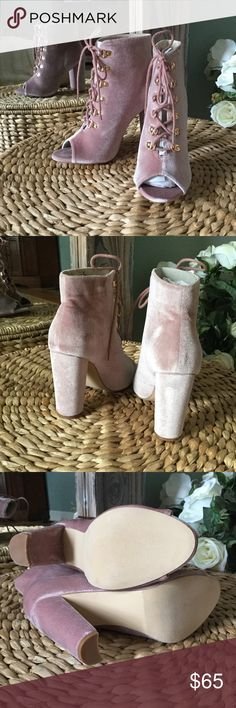 🔥🔥🔥Gorgeous Catherine  Malandrino Velvet Bootie Brand-new in box, never worn. These are STUNNING velvet shoe booties! They are called nude, but they look more soft pink with gold accents. A few tiny areas where velvet is pressed, will easily blend after a few wears. Catherine Malandrino Shoes Ankle Boots & Booties