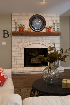 Best Of Fixer Upper Wall Decor . Episode 1 Of Season 5 Fixer Upper In 2019 Stone Fireplace Pictures, White Stone Fireplaces, Stone Fireplace Decor, Stone Fireplace Surround, Modern Fireplace, Fireplace Wall, Fireplace Design, Limestone Fireplace, Fireplace Ideas