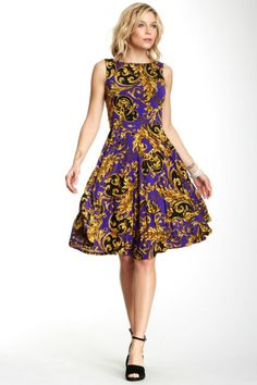 Boatneck Sleeveless Print Dress; different color