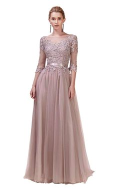 Andrea & Leo lace long sleeve gown with tulle a-line skirt. This dress does have a leg slit over the left leg Bride Groom Dress, Bride Gowns, Designer Evening Dresses, Evening Gowns, Designer Gowns, Bridesmaid Dresses, Prom Dresses, Formal Dresses, Long Sleeve Lace Gown