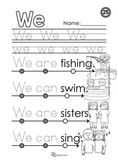 """Beginning reading - We: Each worksheet focuses on one word, and once that word is learned, it is dotted out on all future worksheets. The focus word of this worksheet is the word """"we"""". Beginning Of Kindergarten, Free Kindergarten Worksheets, Beginning Reading, Reading Worksheets, Kindergarten Reading, Kindergarten Classroom Organization, Cvc Words, Sight Words, Learning English For Kids"""