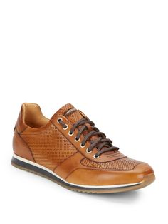 Magnanni Perforated Leather Sneakers in Brown for Men (cognac)