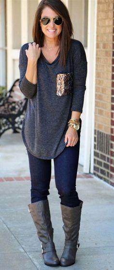 Looks I LOVE! Dark Grey Patchwork Pockets Sequin Long Sleeve Fashion T-Shirt - T-Shirts - Tops