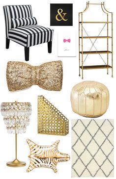 Super home office quarto marrom Ideas Black White And Gold Bedroom, Black White Gold, Bedroom Black, Master Bedroom, Gold Rooms, Glam Room, Home Office Decor, Home Decor, Design Moderne