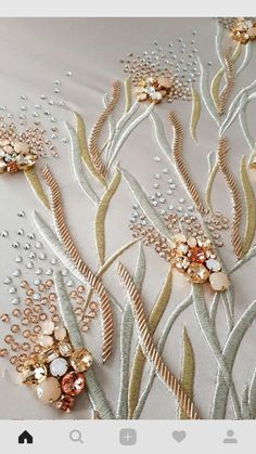 Hand-embroidered trim with pink raffia flowers and drop-shaped pearls Tambour Beading, Tambour Embroidery, Couture Embroidery, Flower Embroidery Designs, Embroidery Fashion, Embroidery Kits, Ribbon Embroidery, Sequin Embroidery, Embroidery Tattoo