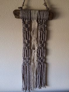 Hermosa Beach Mini Driftwood Macrame Wall Hanging by JillGlidden  #jillgliddenonetsy #gowestdesign #macrame #driftwood #wallhangings #wallart #rustic #boho #bohemian #retro #taupe #griege #nature #natural #wood #beaded #homedecor #naturalhomedecor #smallspacedesigns #mini
