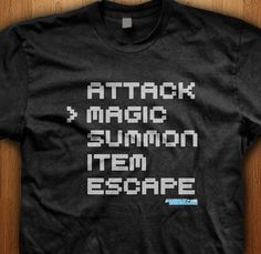 Love your classic j-rpgs like final fantasy? Then pick up a magic attack shirt. We only use Premium quality super soft shirts including Gildan and