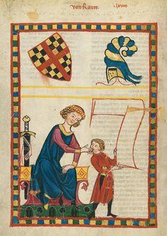 Kind(?) mit Nierendolch an seiner rechten seite. Eine Abbildung aus dem Codex Manesse, fol. 248v, 1305-1340, Zürich.