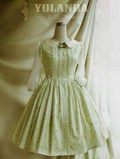 Floral Print algodão 3/4 mangas Classic Lolita vestido verde - Milanoo.com
