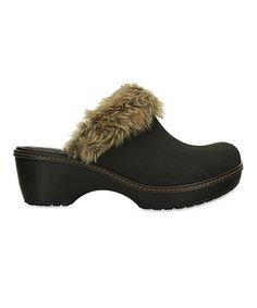 Loving this Mahogany & Black Cobbler Fuzz Leather Clog - Crocs - Women on #zulily! #zulilyfinds... $39.99