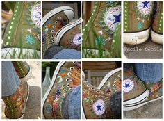 DIY embroidered All Stars ~ These are simply wonderful! Let the thrift store hunt for high tops begin! ;D