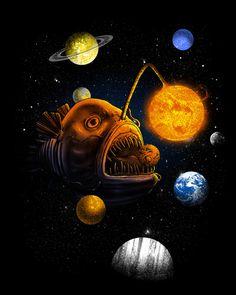 Cosmic Angler Fish Art Print By Biotwist Design By Humans Ghost In The Machine, Calendar Stickers, Smartphone, Fish Drawings, Sea Fish, Fish Art, Cool Artwork, Cosmic, Art Prints