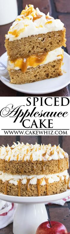 This EASY SPICED APPLESAUCE CAKE with caramel sauce and cream cheese frosting is super soft and moist. Perfect old fashioned spice cake recipe for Fall and Thanksgiving parties! From cakewhiz.com