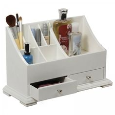 From foundation and finishing products to bottles and brushes, you can create your own personalized cosmetic center. This cosmetic organizer is designed to provide maximum storage space. Quantity: One (1) organizer Pattern: Solid Texture: Smooth Color options: White Materials: Wood Dimensions: 9 inches high x 14 inches wide x 6 inches long The digital images we display have the most accurate color possible. However, due to differences in computer monitors, we cannot be responsible for…