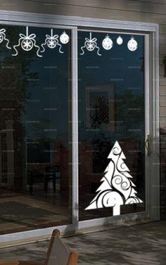 Deco Fenetre Noel, Deco Vitre, Bricolage Noel, Noël Naturel, Vitrine Noel,  Deco Originale, Dessin Noel, Noël Blanc, Idee Deco Noel