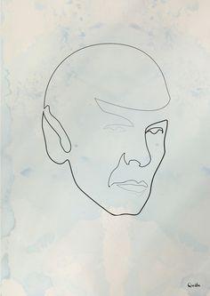 One line Spock Art Print