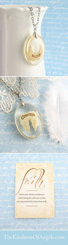 """The word """"FAITH"""" is written in curved letters on a pair of joyfully uplifted angel wings.  Suspended in a gorgeous, clear resin drop, the wings are in a calming cream color, with fine details and brown lettering."""
