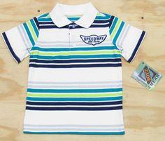 Z Boyz Wear by Nannette Boys  Speedway Stripe Polo Shirt White Blue Green Short Sleeve sizes 2T to 7 $10.95