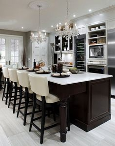 Chocolate brown kitchen... Wine fridge, colors grey and white