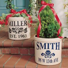 With a stencil, paint, a sponge, and flower pots you can make this! What an awesome, thoughtful, and inexpensive gift.  Great gift for real estate agent or housewarming.