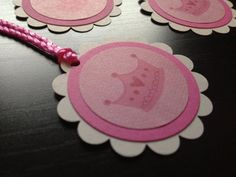Gift Favor Tags Princess Crown Baby Shower Birthday Birth Announcement Gender Reveal (Qty 12) Girl Pink Custom Personalize