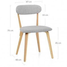 Chase Oak Chair Light Grey Fabric