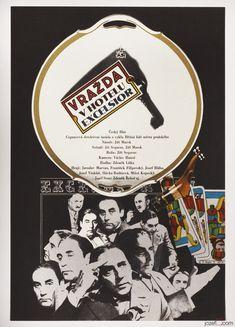 Movie Poster Murder at the Excelsior designed by award winning poster artist Zdeněk Ziegler, 1971 #MoviePoster #Poster #GraphicDesign