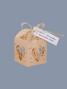 Marturii botez cutiute inimioare ivory Paper Shopping Bag, Wedding, Valentines Day Weddings, Weddings, Marriage, Chartreuse Wedding