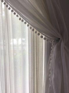 Sheer Ivory Linen Curtain with Pom Pom Trim, Rod Pocket Styl.- Sheer Ivory Linen Curtain with Pom Pom Trim, Rod Pocket Style, European Flax, Long or Short Length image 0 - Pom Pom Curtains, Sheer Linen Curtains, White Curtains, Curtains With Blinds, Bedroom Curtains, Pom Poms, Curtain Panels, Double Curtains, Drapery