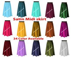 This is Satin Midi Skirt. This Skirt is made Satin fabric And Waist Elastic. Waist is Elastic Waist SO You can wear easily. This Item has a stretch band so that it would fit any waist from To Midi Skirt Casual, Black Midi Skirt, Sexy Skirt, Casual Skirts, Cheap Dance Costumes, Belly Dancer Costumes, Bollywood Costume, Satin Midi Skirt, Pleated Fabric