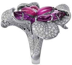 Cartier Sortilège collection, orchid ring, flower, floral, diamonds, statement ring, cocktail ring