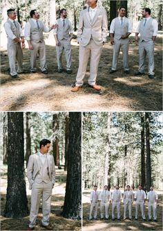beige and gray looks for the groom http://www.weddingchicks.com/2013/09/23/romantic-woodland-wedding/