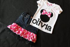 Minnie Mouse inspired shirt and matching pink or red polka dot ruffle with tulle ruffle levi skirt on Etsy, $39.00