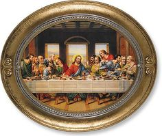 The Last Supper of Jesus Christ Print in Oval Frame – Beattitudes Religious Gifts