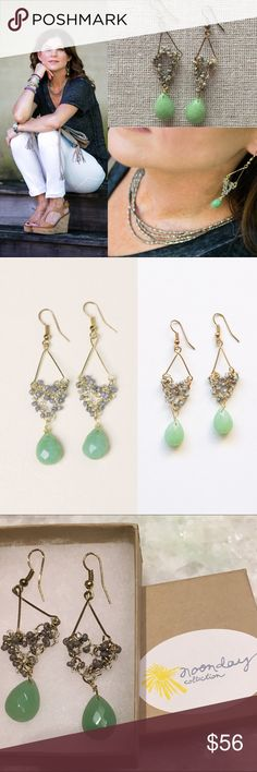 """Noonday Collection Mint and Gold """"Julep"""" Earrings 🎁Offers welcome 🔑Bundle to save                                             👍Like for price drop notifications         BNWOT. Beautiful hand strung beaded earrings made with love in India. Supports safe working environments in India. 2.5 inch length. Faceted Mint green and soft gray glass, metal, and seed beads. Gold twisted metal frame. Item EA117CF. Take care of your earrings by avoiding water, hairspray, perfume, or household cleaners…"""