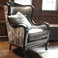 I adore cool chairs! Especially like printed chairs for my office  Catania Leather Chair - Arhaus