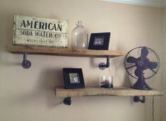 DIY wood & galvanized pipe shelves