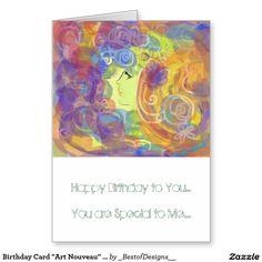 "Birthday Card ""Art Nouveau"" Design"