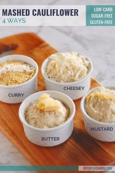 COOKING VIDEO -Jazz up your low-carb mashed cauliflower - 4 ways. Curried, buttery, mustard and cheesy. See how you can flavour individual portions - to keep the entire family and all your picky eaters happy! #lowcarb #keto #glutenfree #sugarfree #mashedcauliflower #lowcarbmashedcauliflower #healthymeal #familymeal #easysidedish