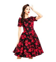 70445c7d71d Dolly and Dotty Darlene 50 s Dress - Red Black Floral
