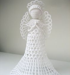 White+tall+crochet+angel.+Angel+decoration.+Christmas+by+linzes,+$36.00