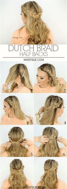 Dutch Braid Half Backs | MissySue.com Pretty Hairstyles, Half Braided Hairstyles, Braid And Curls Hairstyles, Braids And Curls, Braid Hair Styles, Middle School Hairstyles, Braided Half Updo, Lazy Hairstyles, Updo Styles